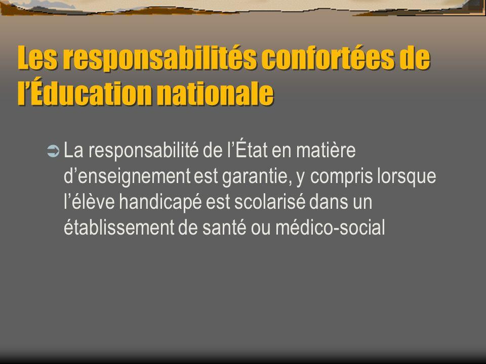 Les responsabilités confortées de lÉducation nationale La responsabilité de lÉtat en matière denseignement est garantie, y compris lorsque lélève handicapé est scolarisé dans un établissement de santé ou médico-social