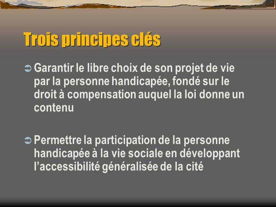 Trois principes clés Garantir le libre choix de son projet de vie par la personne handicapée, fondé sur le droit à compensation auquel la loi donne un contenu Permettre la participation de la personne handicapée à la vie sociale en développant laccessibilité généralisée de la cité