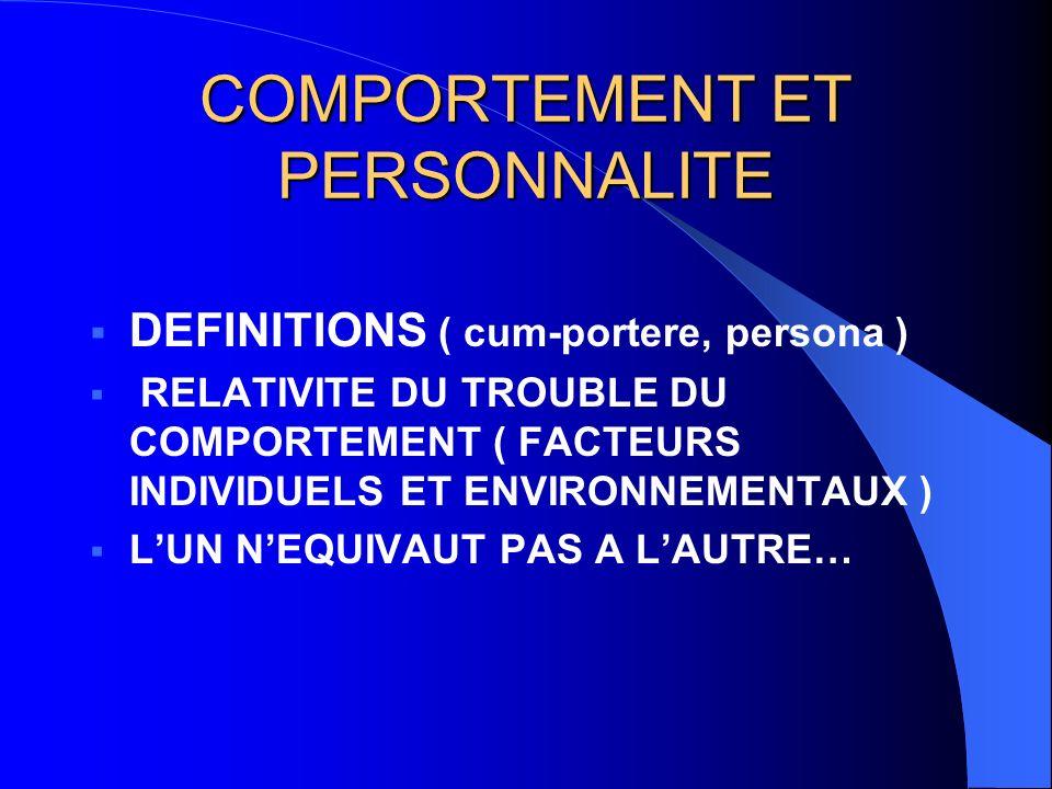 COMPORTEMENT ET PERSONNALITE DEFINITIONS ( cum-portere, persona ) RELATIVITE DU TROUBLE DU COMPORTEMENT ( FACTEURS INDIVIDUELS ET ENVIRONNEMENTAUX ) LUN NEQUIVAUT PAS A LAUTRE…