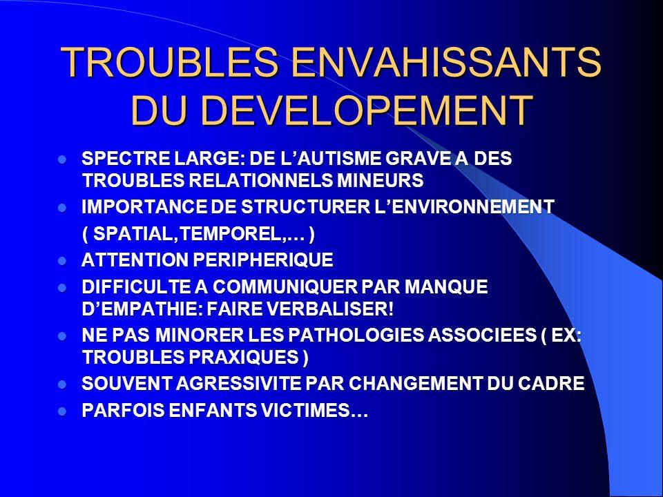 TROUBLES ENVAHISSANTS DU DEVELOPEMENT SPECTRE LARGE: DE LAUTISME GRAVE A DES TROUBLES RELATIONNELS MINEURS SPECTRE LARGE: DE LAUTISME GRAVE A DES TROUBLES RELATIONNELS MINEURS IMPORTANCE DE STRUCTURER LENVIRONNEMENT IMPORTANCE DE STRUCTURER LENVIRONNEMENT ( SPATIAL,TEMPOREL,… ) ( SPATIAL,TEMPOREL,… ) ATTENTION PERIPHERIQUE ATTENTION PERIPHERIQUE DIFFICULTE A COMMUNIQUER PAR MANQUE DEMPATHIE: FAIRE VERBALISER.