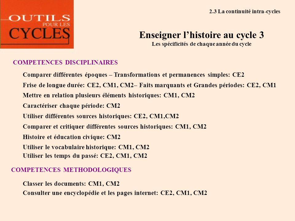 Enseigner lhistoire au cycle 3 Les spécificités de chaque année du cycle COMPETENCES DISCIPLINAIRES Frise de longue durée: CE2, CM1, CM2– Faits marqua