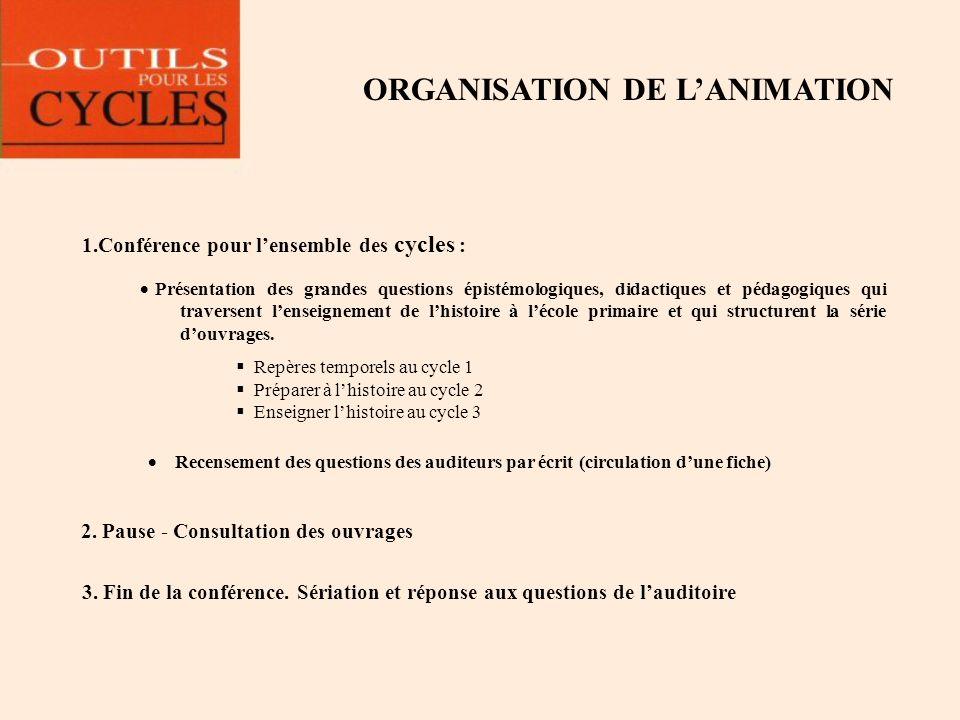 ORGANISATION DE LANIMATION 1.Conférence pour lensemble des cycles : Présentation des grandes questions épistémologiques, didactiques et pédagogiques q