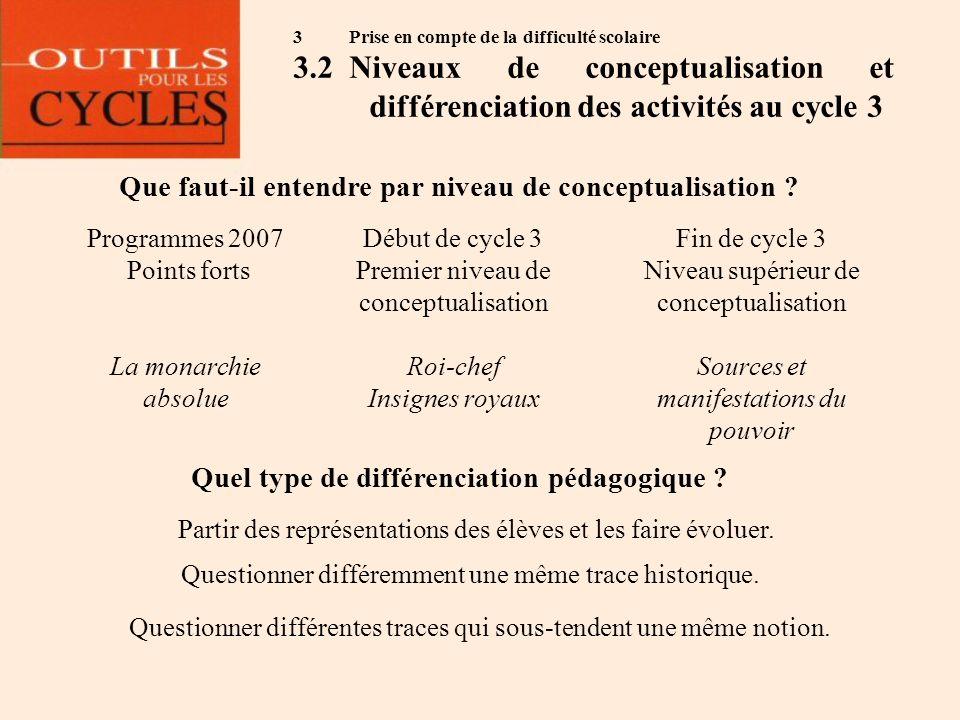 3 Prise en compte de la difficulté scolaire 3.2Niveaux de conceptualisation et différenciation des activités au cycle 3 Que faut-il entendre par nivea