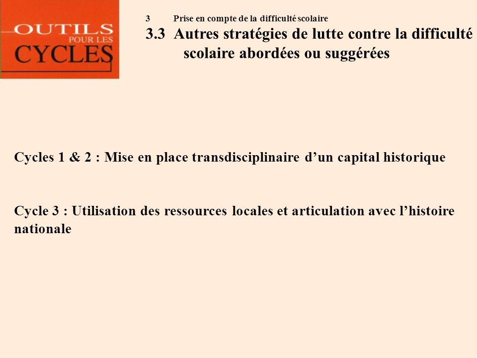 3 Prise en compte de la difficulté scolaire 3.3Autres stratégies de lutte contre la difficulté scolaire abordées ou suggérées Cycles 1 & 2 : Mise en p