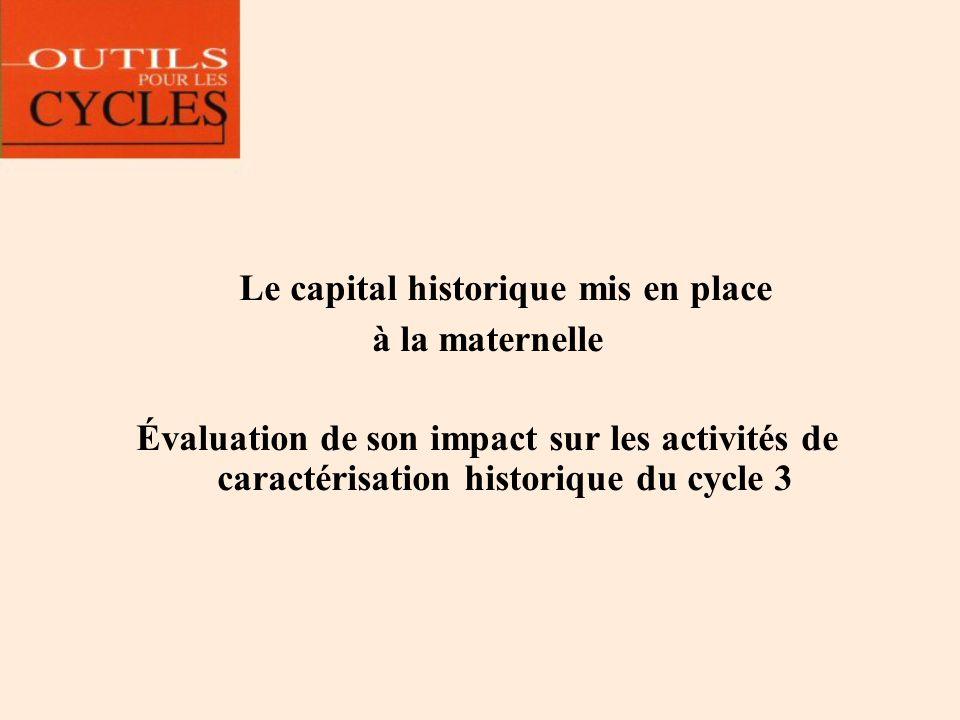 Le capital historique mis en place à la maternelle Évaluation de son impact sur les activités de caractérisation historique du cycle 3