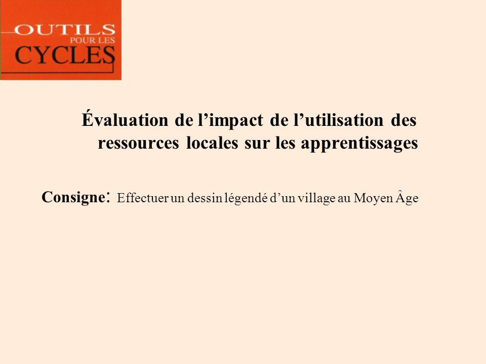 Évaluation de limpact de lutilisation des ressources locales sur les apprentissages Consigne : Effectuer un dessin légendé dun village au Moyen Âge
