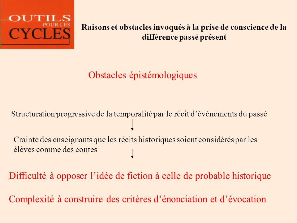 Raisons et obstacles invoqués à la prise de conscience de la différence passé présent Obstacles épistémologiques Structuration progressive de la tempo