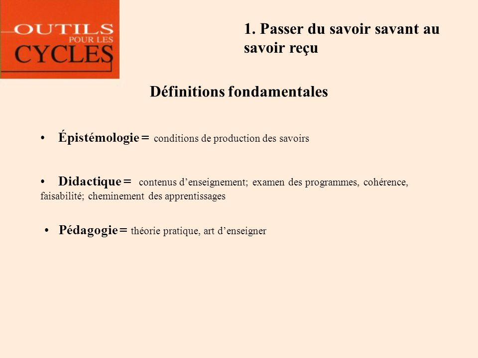 Définitions fondamentales Épistémologie = conditions de production des savoirs Didactique = contenus denseignement; examen des programmes, cohérence,