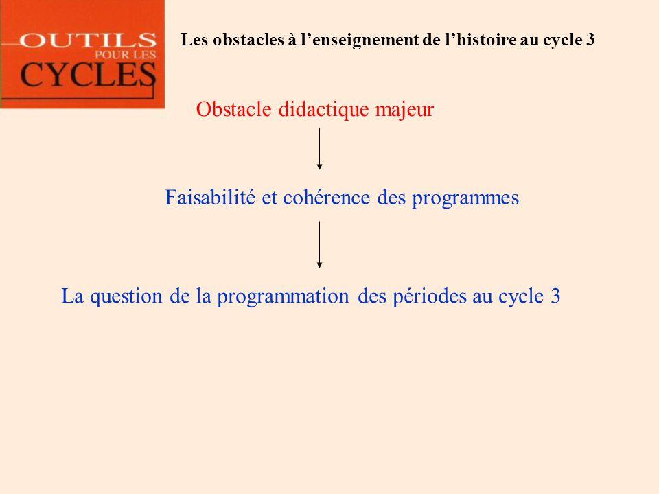 Obstacle didactique majeur Faisabilité et cohérence des programmes La question de la programmation des périodes au cycle 3 Les obstacles à lenseigneme