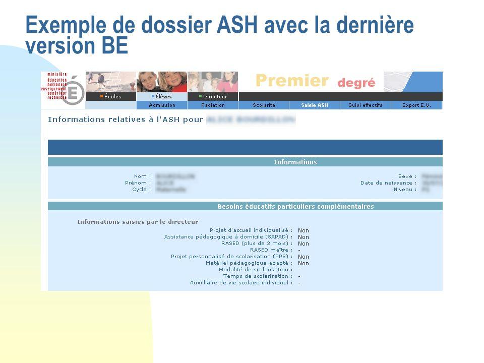 Exemple de dossier ASH avec la dernière version BE