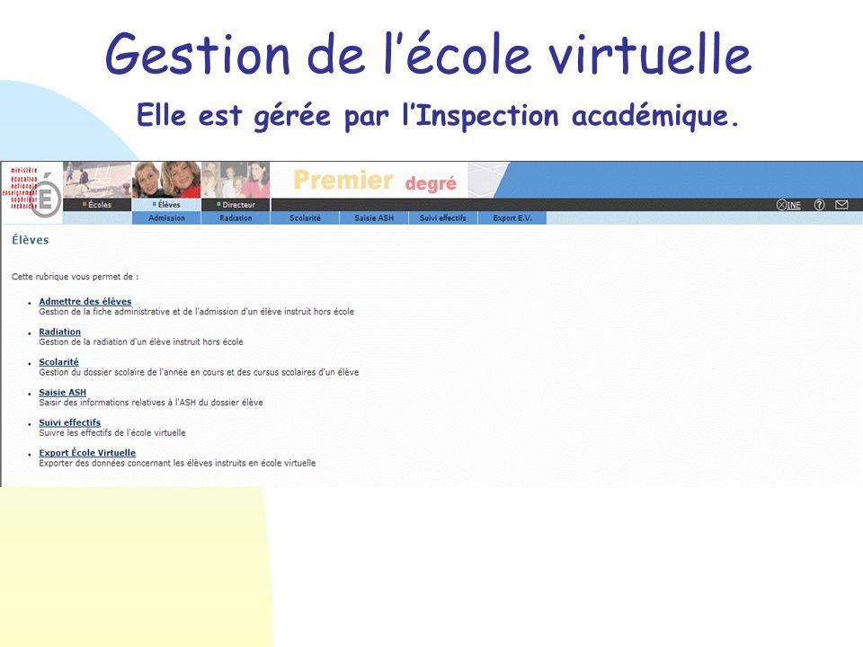 Gestion de lécole virtuelle Elle est gérée par lInspection académique.