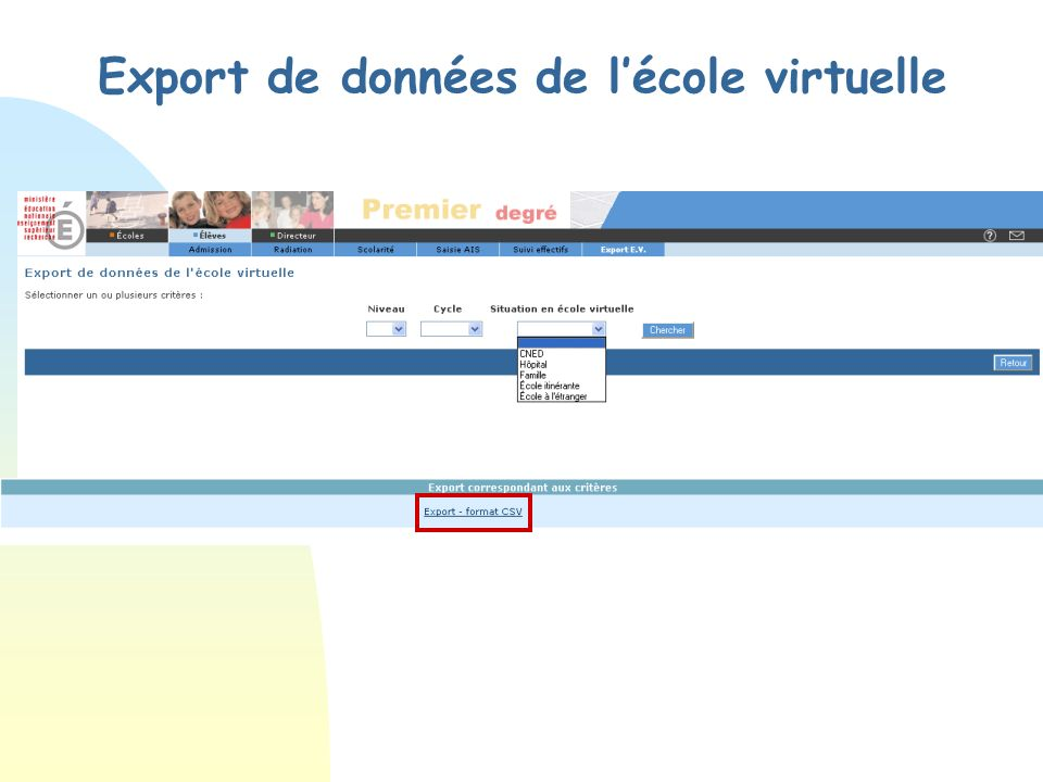 Export de données de lécole virtuelle