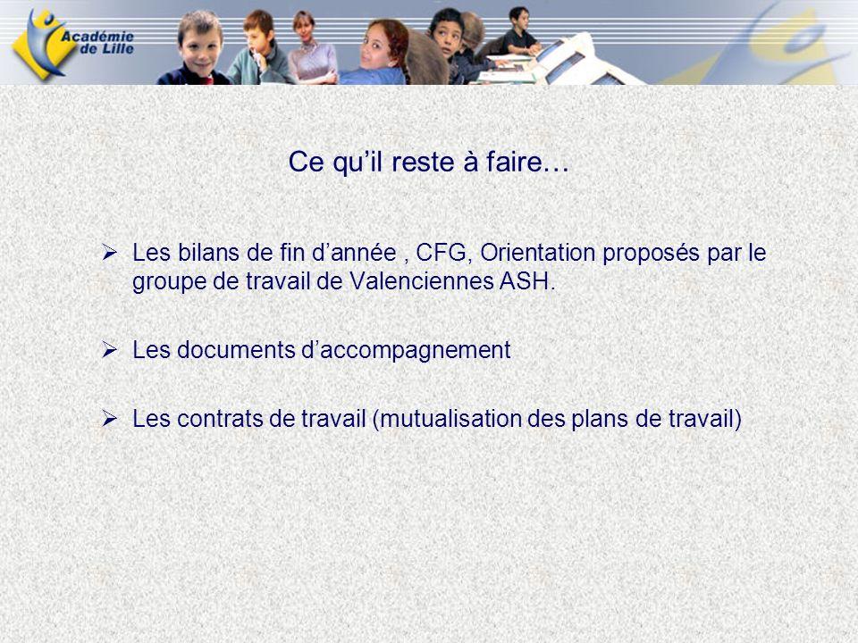 Les bilans de fin dannée, CFG, Orientation proposés par le groupe de travail de Valenciennes ASH. Les documents daccompagnement Les contrats de travai