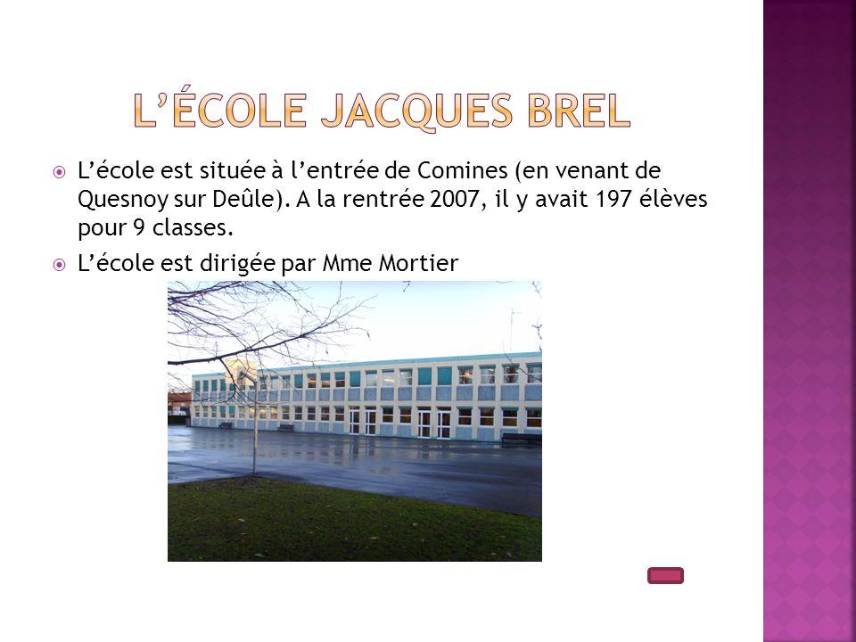 Lécole est située à lentrée de Comines (en venant de Quesnoy sur Deûle). A la rentrée 2007, il y avait 197 élèves pour 9 classes. Lécole est dirigée p