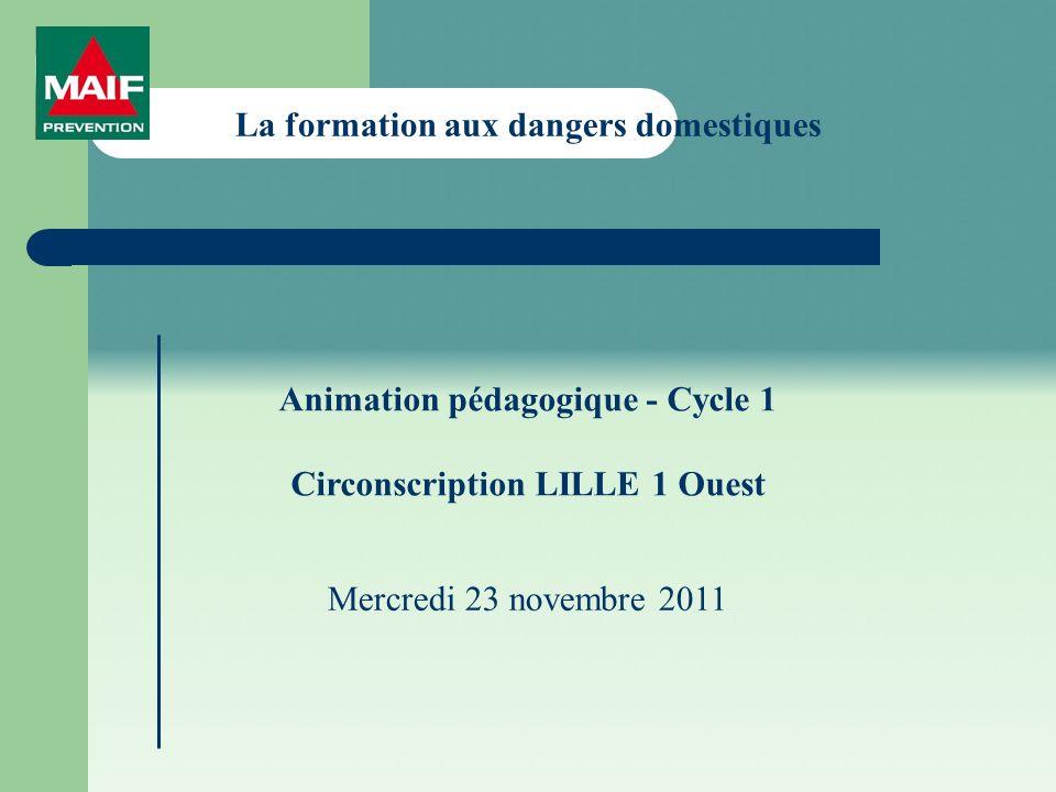 La formation aux dangers domestiques Animation pédagogique - Cycle 1 Circonscription LILLE 1 Ouest Mercredi 23 novembre 2011