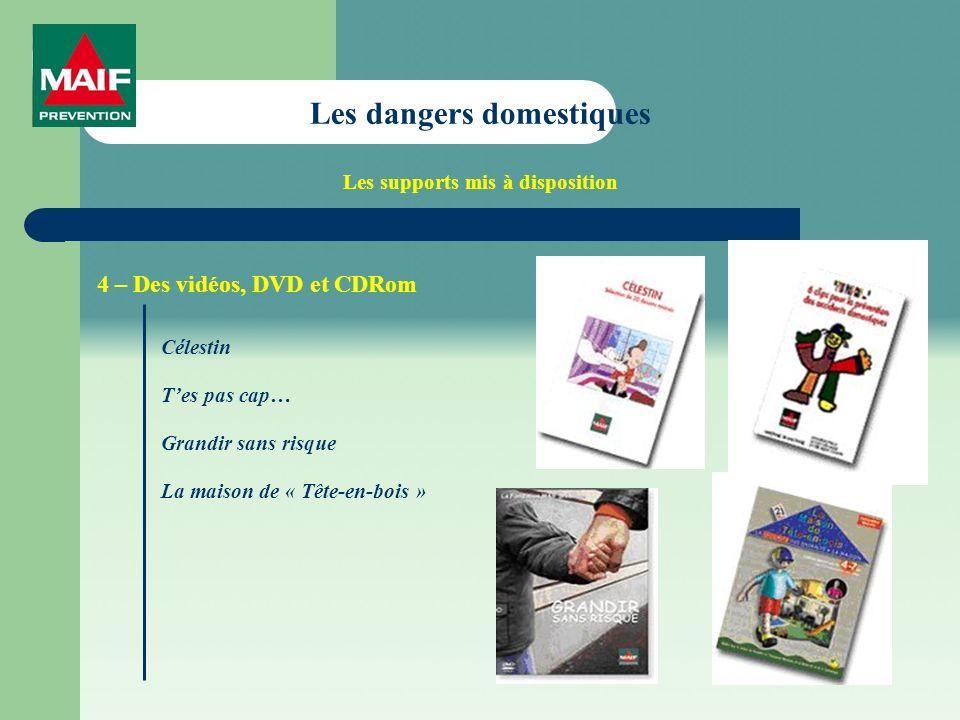 Les dangers domestiques Les supports mis à disposition 4 – Des vidéos, DVD et CDRom Célestin Tes pas cap… Grandir sans risque La maison de « Tête-en-bois »