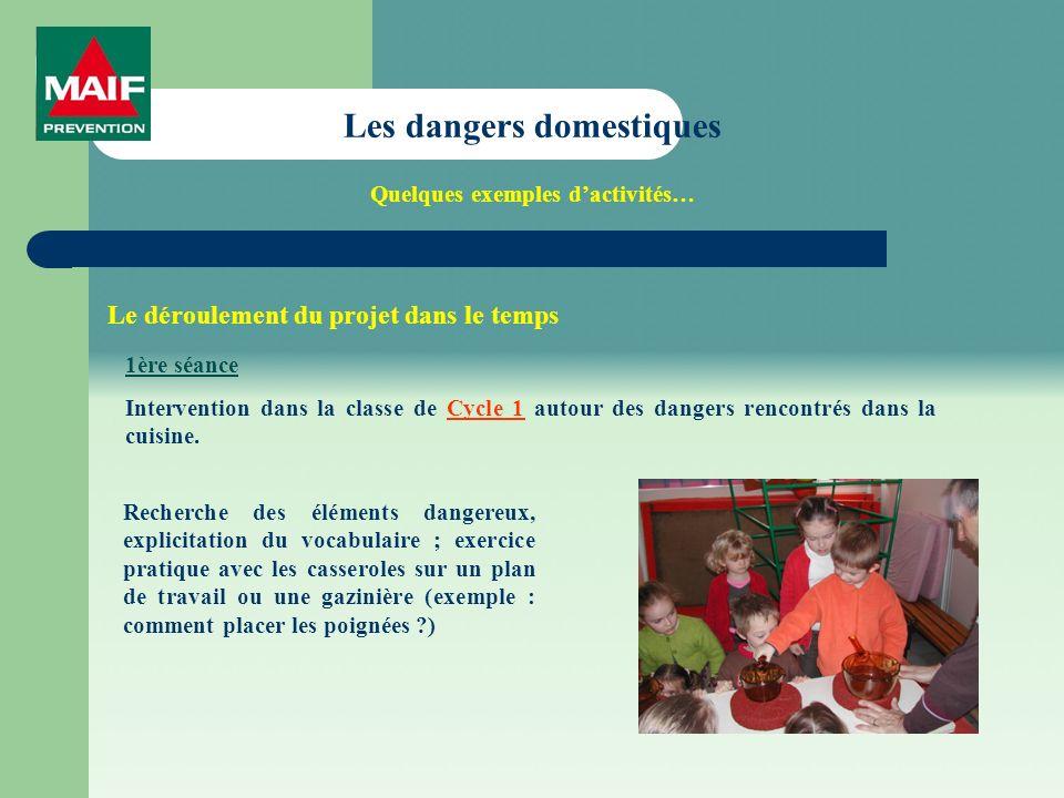 Les dangers domestiques Quelques exemples dactivités… Le déroulement du projet dans le temps 1ère séance Intervention dans la classe de Cycle 1 autour des dangers rencontrés dans la cuisine.