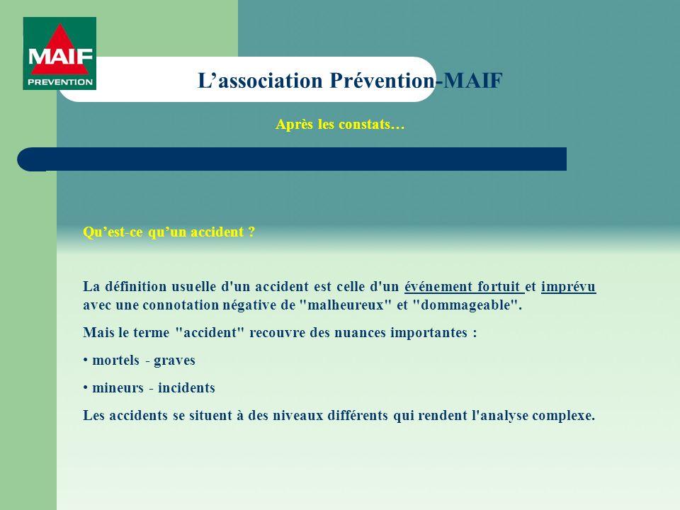 Lassociation Prévention-MAIF Quest-ce quun accident ? La définition usuelle d'un accident est celle d'un événement fortuit et imprévu avec une connota