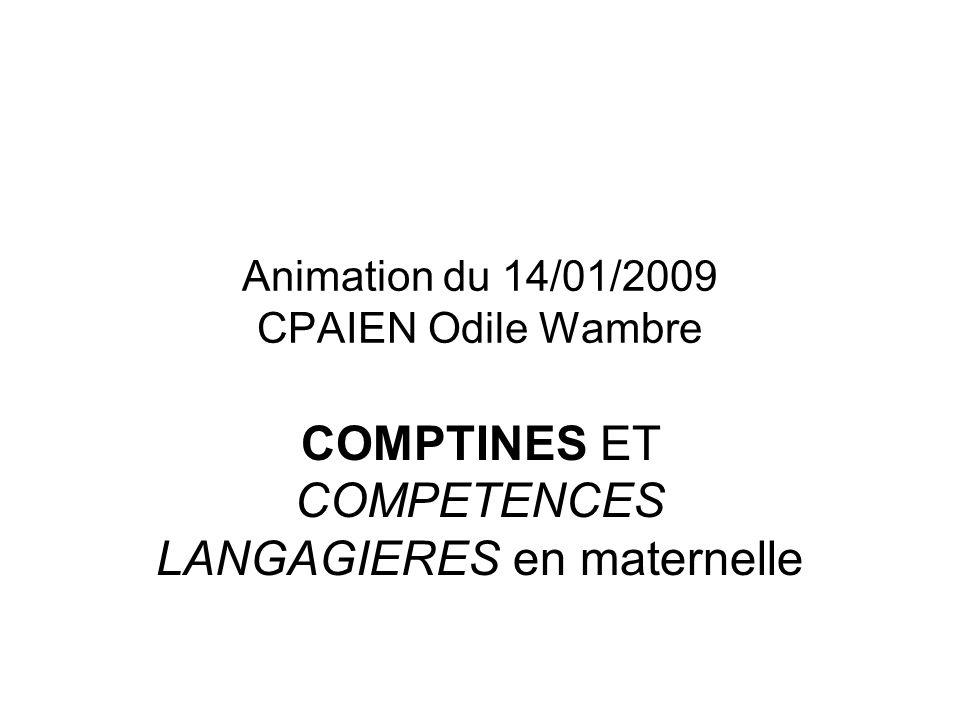 Animation du 14/01/2009 CPAIEN Odile Wambre COMPTINES ET COMPETENCES LANGAGIERES en maternelle