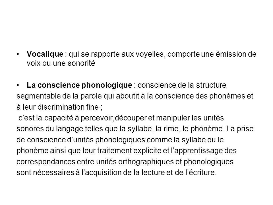 Vocalique : qui se rapporte aux voyelles, comporte une émission de voix ou une sonorité La conscience phonologique : conscience de la structure segmen
