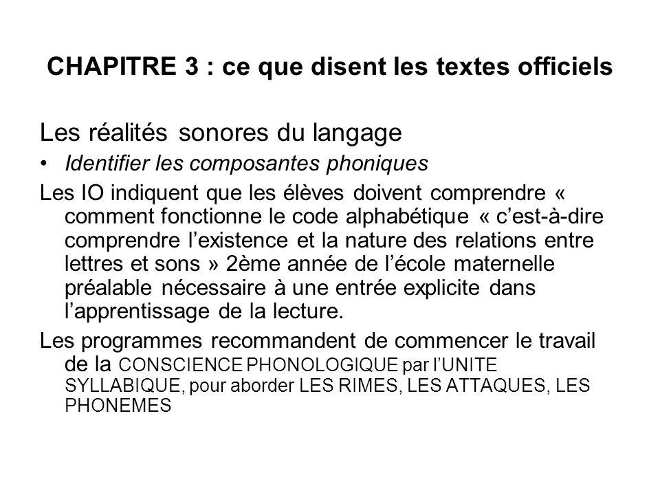 CHAPITRE 3 : ce que disent les textes officiels Les réalités sonores du langage Identifier les composantes phoniques Les IO indiquent que les élèves d