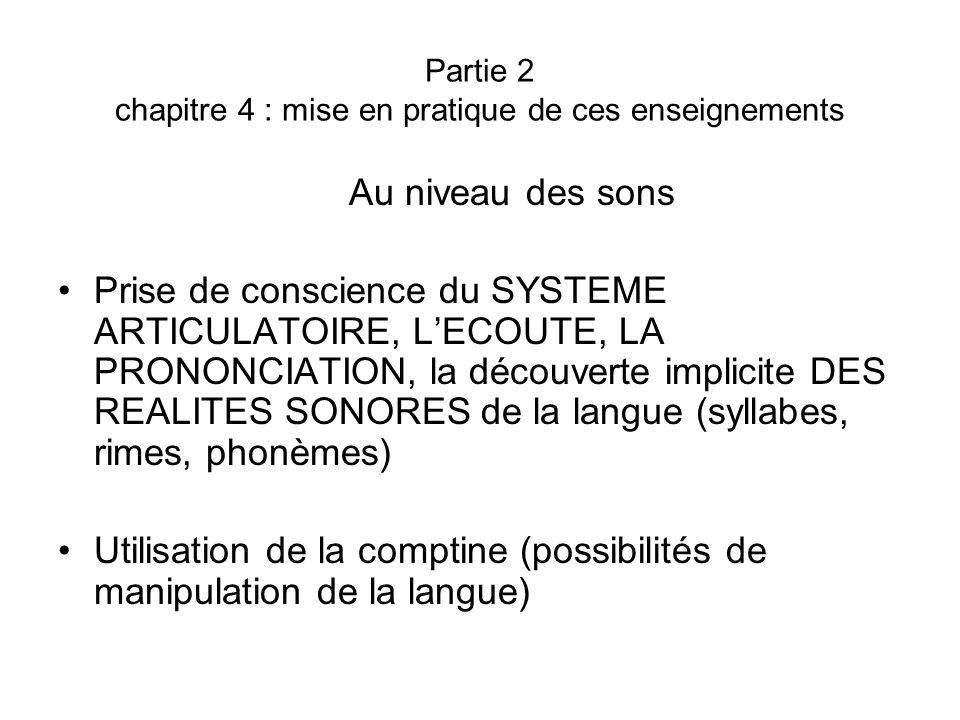 Partie 2 chapitre 4 : mise en pratique de ces enseignements Au niveau des sons Prise de conscience du SYSTEME ARTICULATOIRE, LECOUTE, LA PRONONCIATION