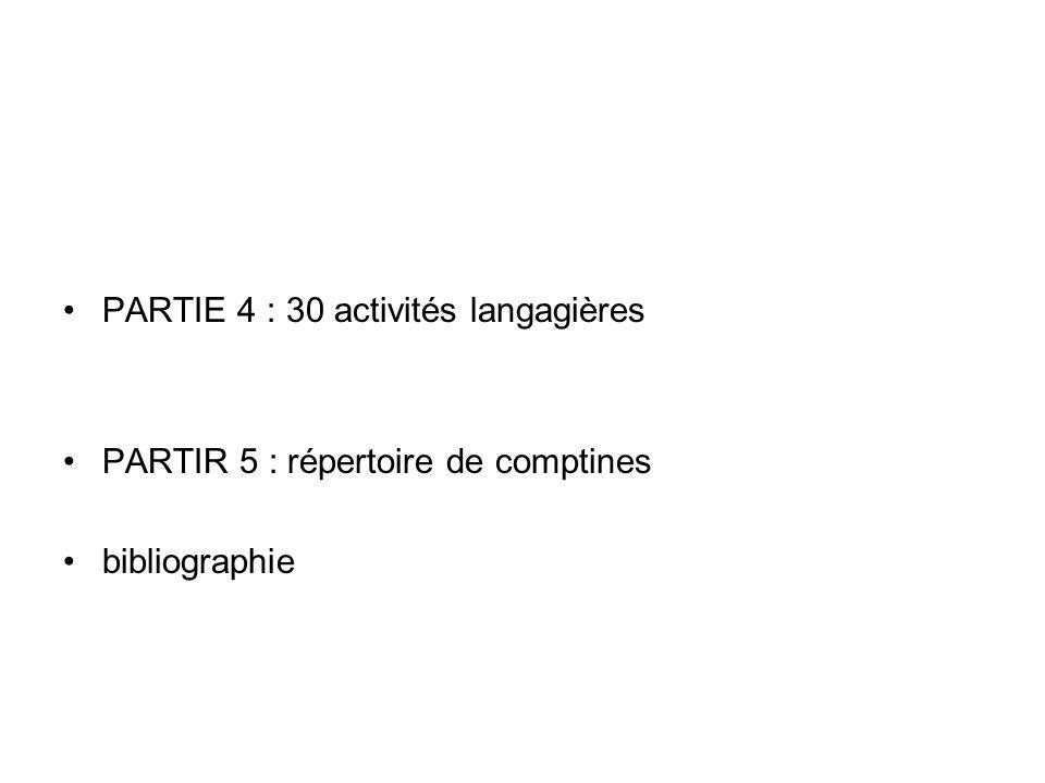 PARTIE 4 : 30 activités langagières PARTIR 5 : répertoire de comptines bibliographie