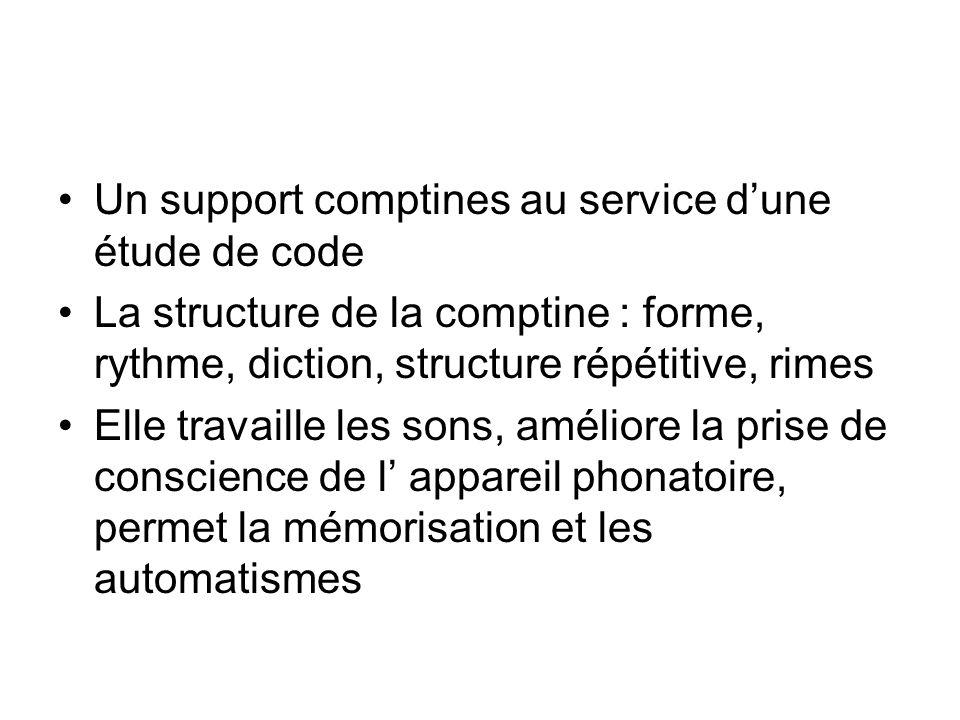 Un support comptines au service dune étude de code La structure de la comptine : forme, rythme, diction, structure répétitive, rimes Elle travaille le