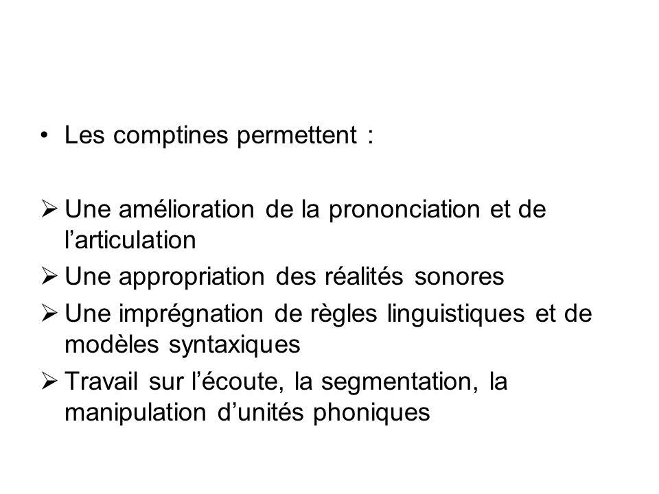 Les comptines permettent : Une amélioration de la prononciation et de larticulation Une appropriation des réalités sonores Une imprégnation de règles