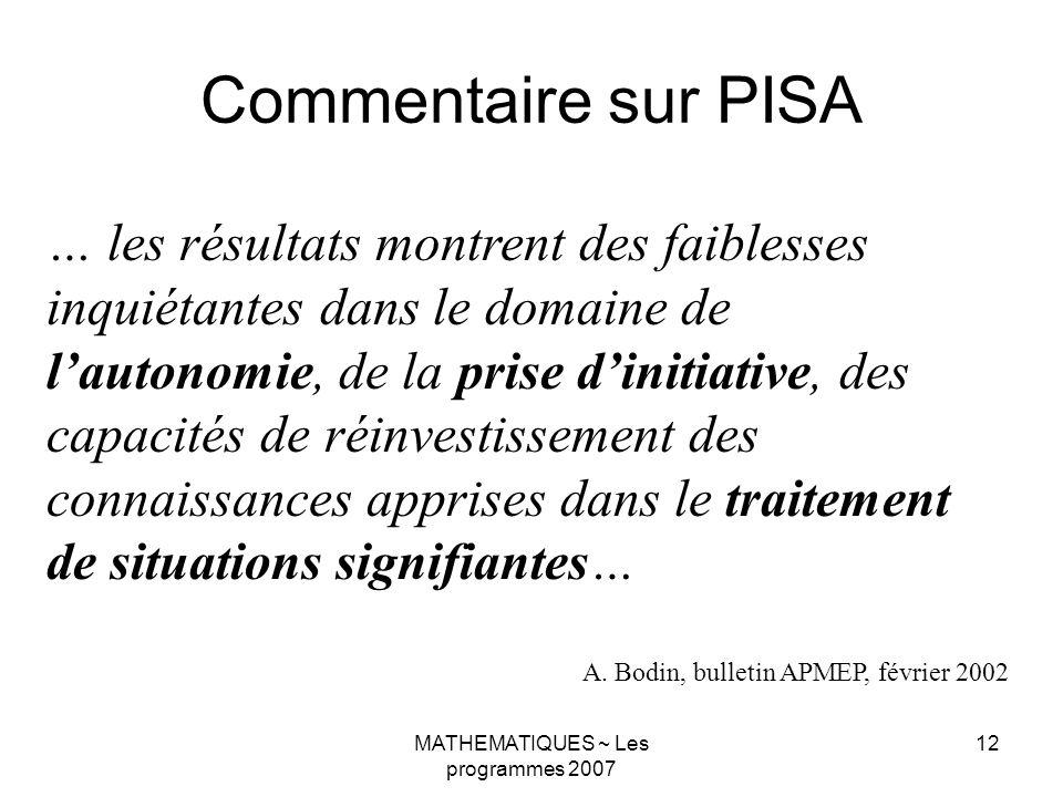 MATHEMATIQUES ~ Les programmes 2007 12 Commentaire sur PISA … les résultats montrent des faiblesses inquiétantes dans le domaine de lautonomie, de la