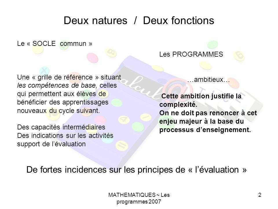 MATHEMATIQUES ~ Les programmes 2007 2 Deux natures / Deux fonctions Le « SOCLE commun » Une « grille de référence » situant les compétences de base, celles qui permettent aux élèves de bénéficier des apprentissages nouveaux du cycle suivant.
