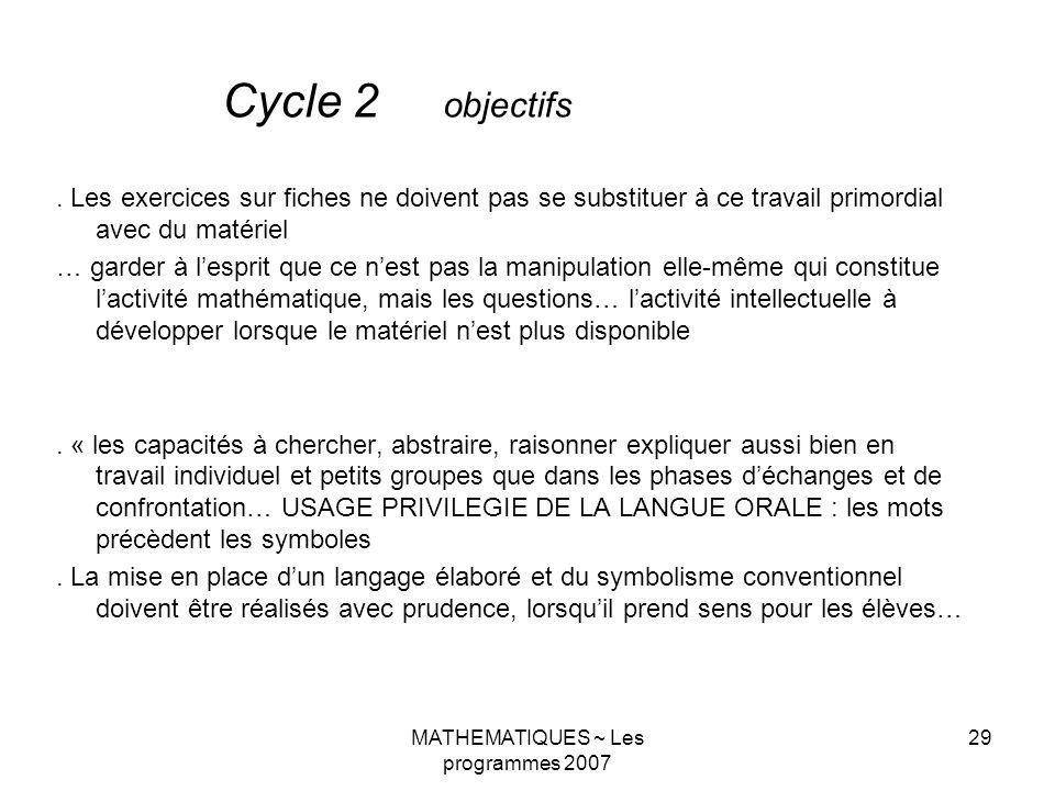 MATHEMATIQUES ~ Les programmes 2007 29.