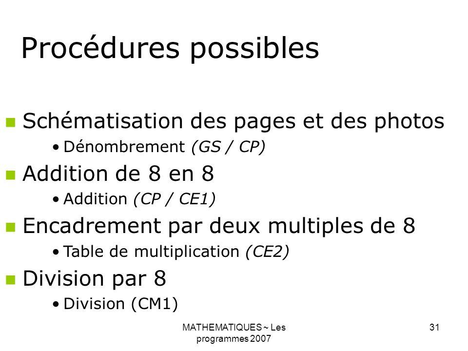 MATHEMATIQUES ~ Les programmes 2007 31 Procédures possibles Schématisation des pages et des photos Dénombrement (GS / CP) Addition de 8 en 8 Addition (CP / CE1) Encadrement par deux multiples de 8 Table de multiplication (CE2) Division par 8 Division (CM1)