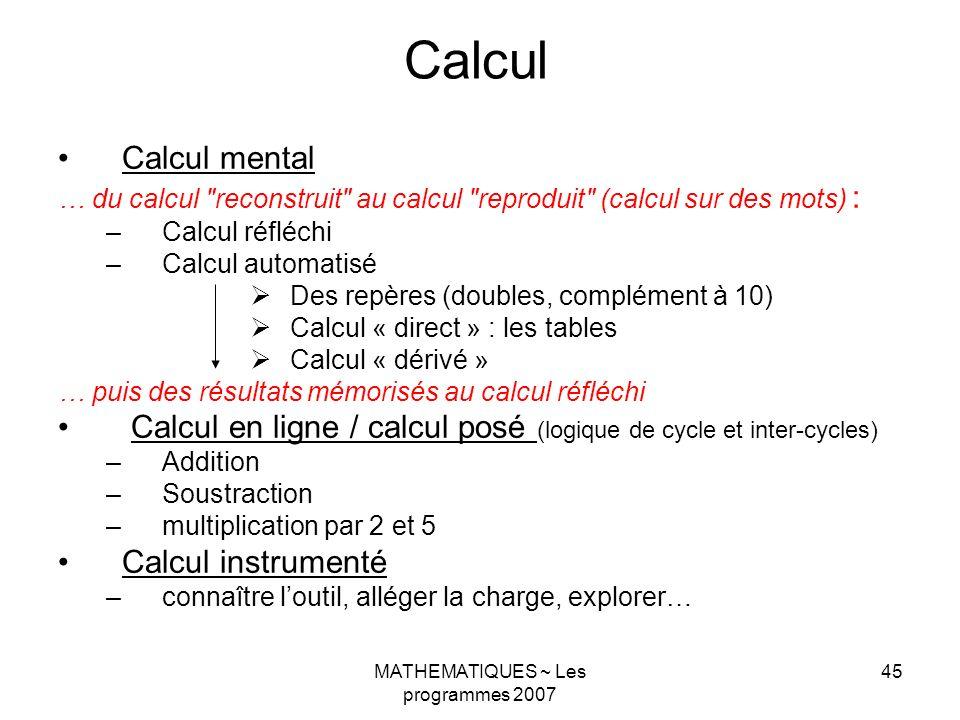 MATHEMATIQUES ~ Les programmes 2007 45 Calcul Calcul mental … du calcul reconstruit au calcul reproduit (calcul sur des mots) : –Calcul réfléchi –Calcul automatisé Des repères (doubles, complément à 10) Calcul « direct » : les tables Calcul « dérivé » … puis des résultats mémorisés au calcul réfléchi Calcul en ligne / calcul posé (logique de cycle et inter-cycles) –Addition –Soustraction –multiplication par 2 et 5 Calcul instrumenté –connaître loutil, alléger la charge, explorer…