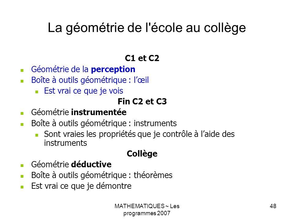 MATHEMATIQUES ~ Les programmes 2007 48 La géométrie de l'école au collège C1 et C2 Géométrie de la perception Boîte à outils géométrique : lœil Est vr