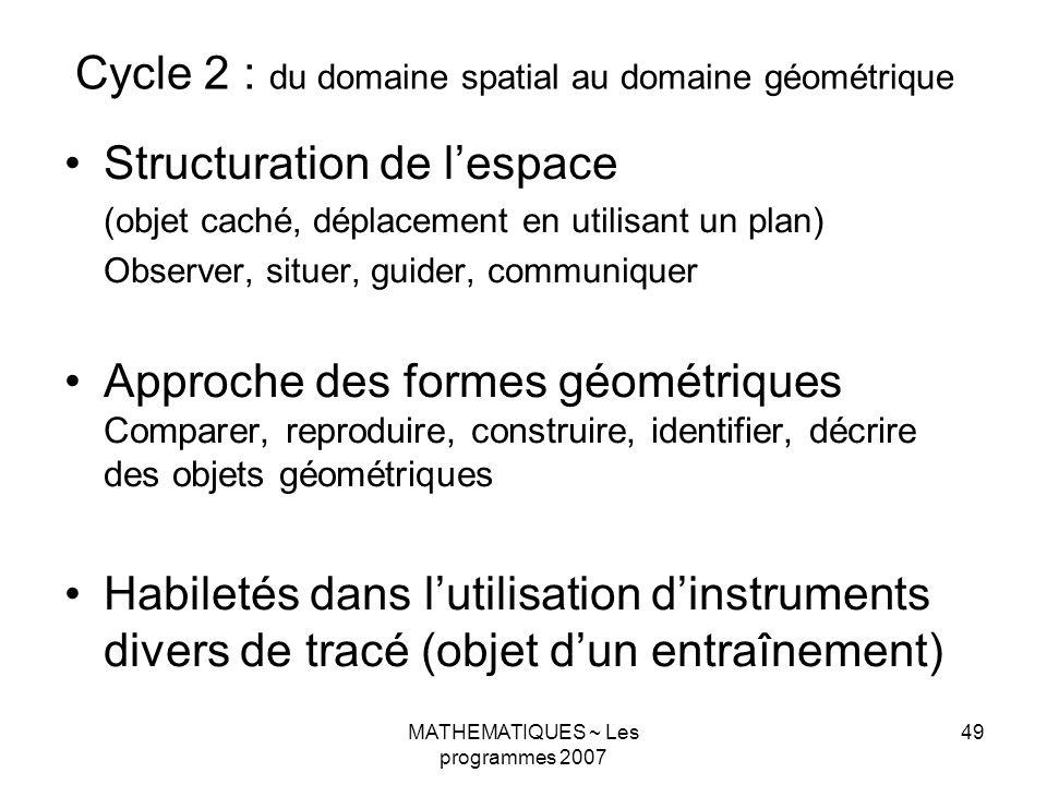 MATHEMATIQUES ~ Les programmes 2007 49 Cycle 2 : du domaine spatial au domaine géométrique Structuration de lespace (objet caché, déplacement en utilisant un plan) Observer, situer, guider, communiquer Approche des formes géométriques Comparer, reproduire, construire, identifier, décrire des objets géométriques Habiletés dans lutilisation dinstruments divers de tracé (objet dun entraînement)
