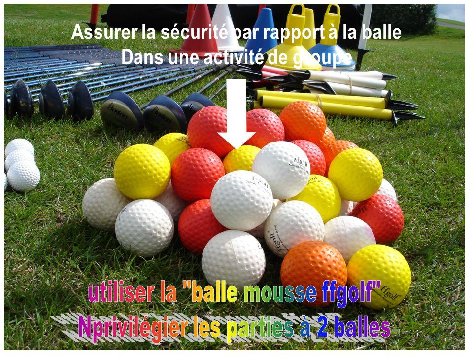 Une assiette plastique posée sur la ligne imaginaire qui passe par la balle et la cible, à 3 pas en arrière de la balle (1) et une placée devant le joueur au niveau de la balle à un pas (2), déterminent la zone de sécurité sécurité sur parcours une seule balle par groupe Avantages de cette procédure : elle construit en même temps la « ligne de jeu » en obligeant le joueur à déterminer un alignement et à se placer « perpendiculairement »