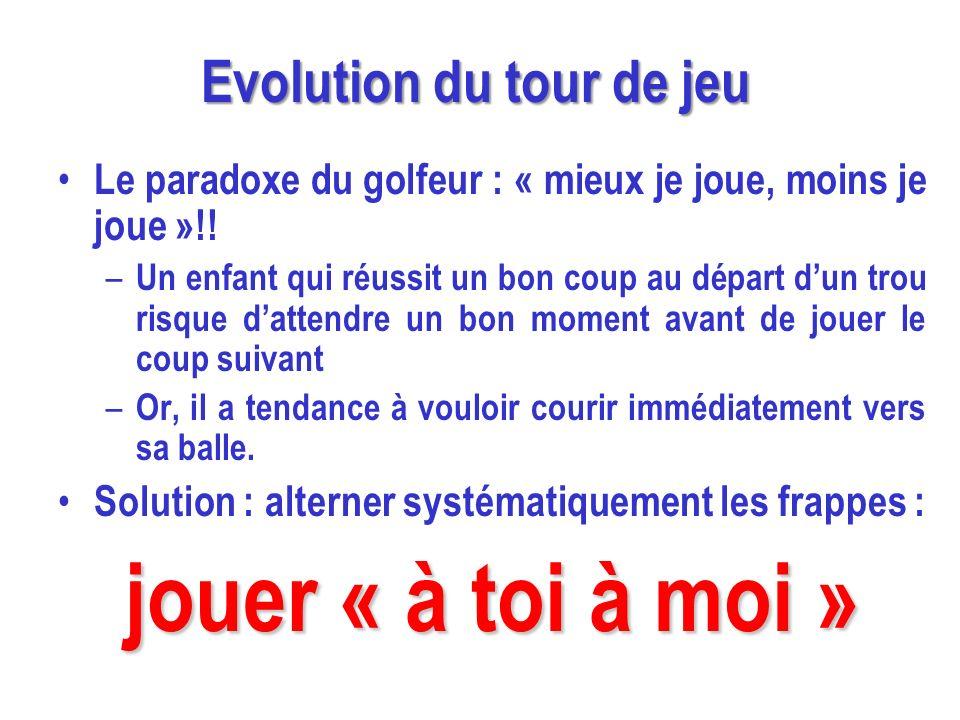 Evolution du tour de jeu Le paradoxe du golfeur : « mieux je joue, moins je joue »!! – Un enfant qui réussit un bon coup au départ dun trou risque dat