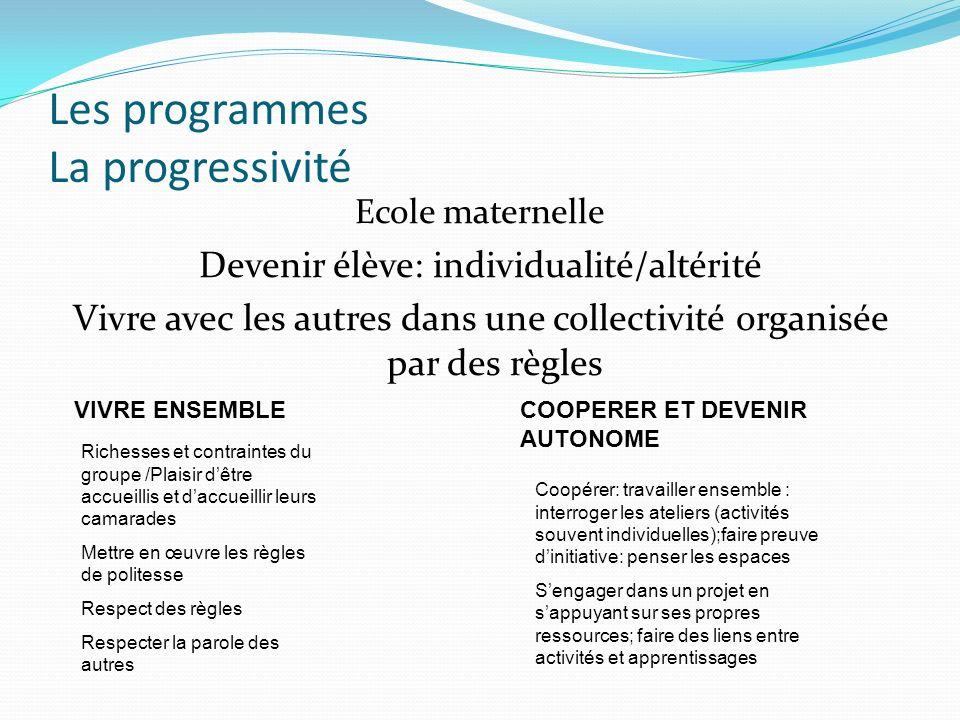 Les programmes La progressivité Ecole maternelle Devenir élève: individualité/altérité Vivre avec les autres dans une collectivité organisée par des r