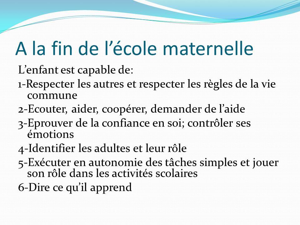 A la fin de lécole maternelle Lenfant est capable de: 1-Respecter les autres et respecter les règles de la vie commune 2-Ecouter, aider, coopérer, dem