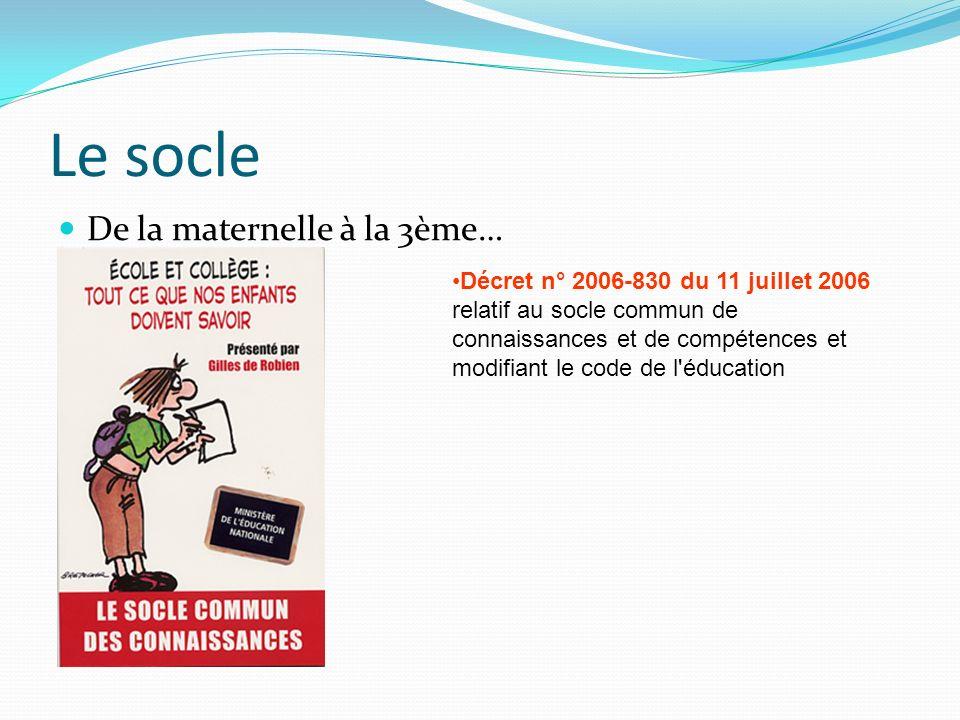 Le socle De la maternelle à la 3ème… Décret n° 2006-830 du 11 juillet 2006 relatif au socle commun de connaissances et de compétences et modifiant le