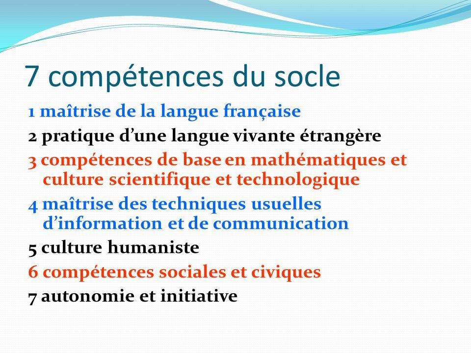 7 compétences du socle 1 maîtrise de la langue française 2 pratique dune langue vivante étrangère 3 compétences de base en mathématiques et culture sc