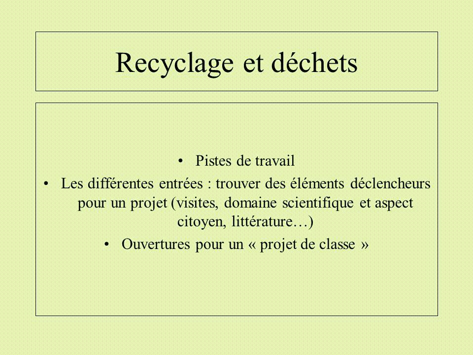 Recyclage et déchets Pistes de travail Les différentes entrées : trouver des éléments déclencheurs pour un projet (visites, domaine scientifique et as