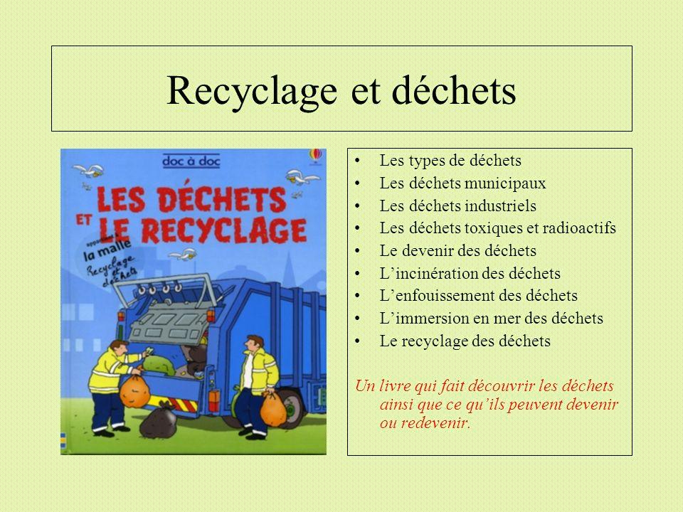 Recyclage et déchets Les types de déchets Les déchets municipaux Les déchets industriels Les déchets toxiques et radioactifs Le devenir des déchets Li