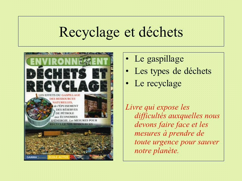Recyclage et déchets Le gaspillage Les types de déchets Le recyclage Livre qui expose les difficultés auxquelles nous devons faire face et les mesures