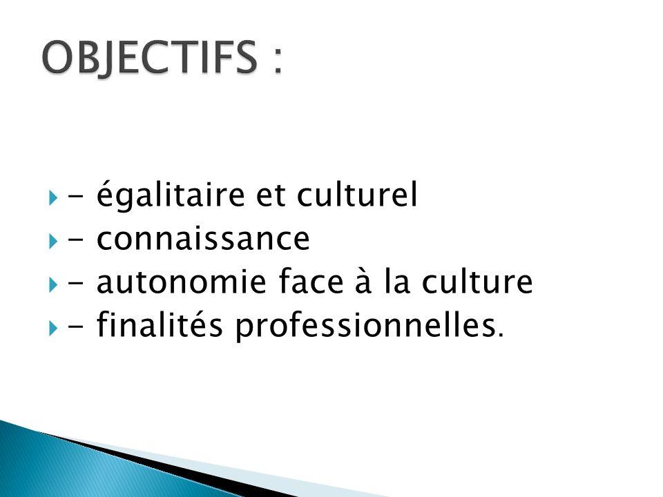 - égalitaire et culturel - connaissance - autonomie face à la culture - finalités professionnelles.