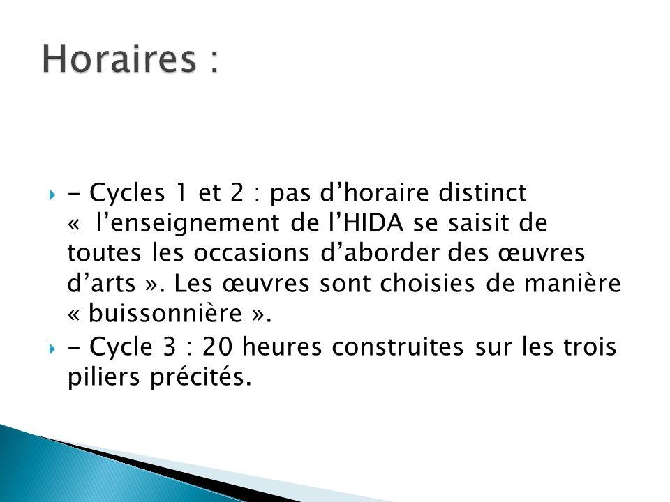 - Cycles 1 et 2 : pas dhoraire distinct « lenseignement de lHIDA se saisit de toutes les occasions daborder des œuvres darts ». Les œuvres sont choisi