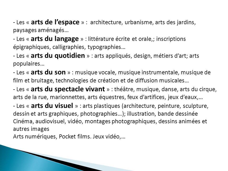 - Les « arts de lespace » : architecture, urbanisme, arts des jardins, paysages aménagés… - Les « arts du langage » : littérature écrite et orale,; in