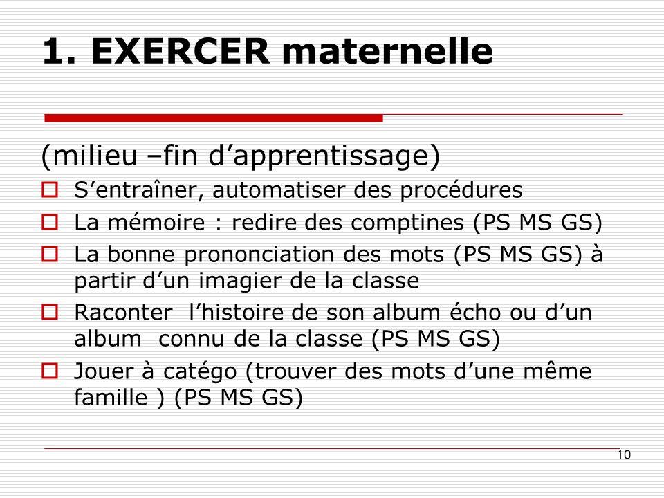 1. EXERCER maternelle (milieu –fin dapprentissage) Sentraîner, automatiser des procédures La mémoire : redire des comptines (PS MS GS) La bonne pronon