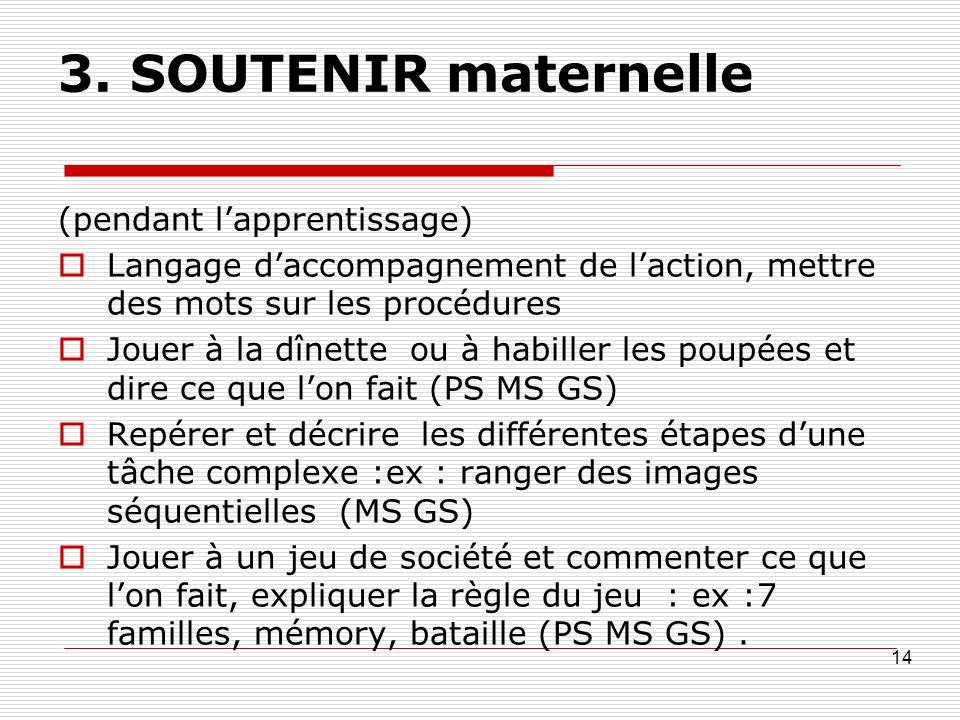 3. SOUTENIR maternelle (pendant lapprentissage) Langage daccompagnement de laction, mettre des mots sur les procédures Jouer à la dînette ou à habille